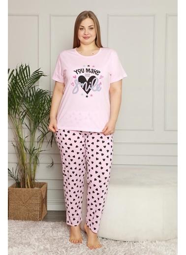 Akbeniz Kadın %100 Pamuk Cepli Kısa Kol Büyük Beden Pijama Takım 202079 Pembe